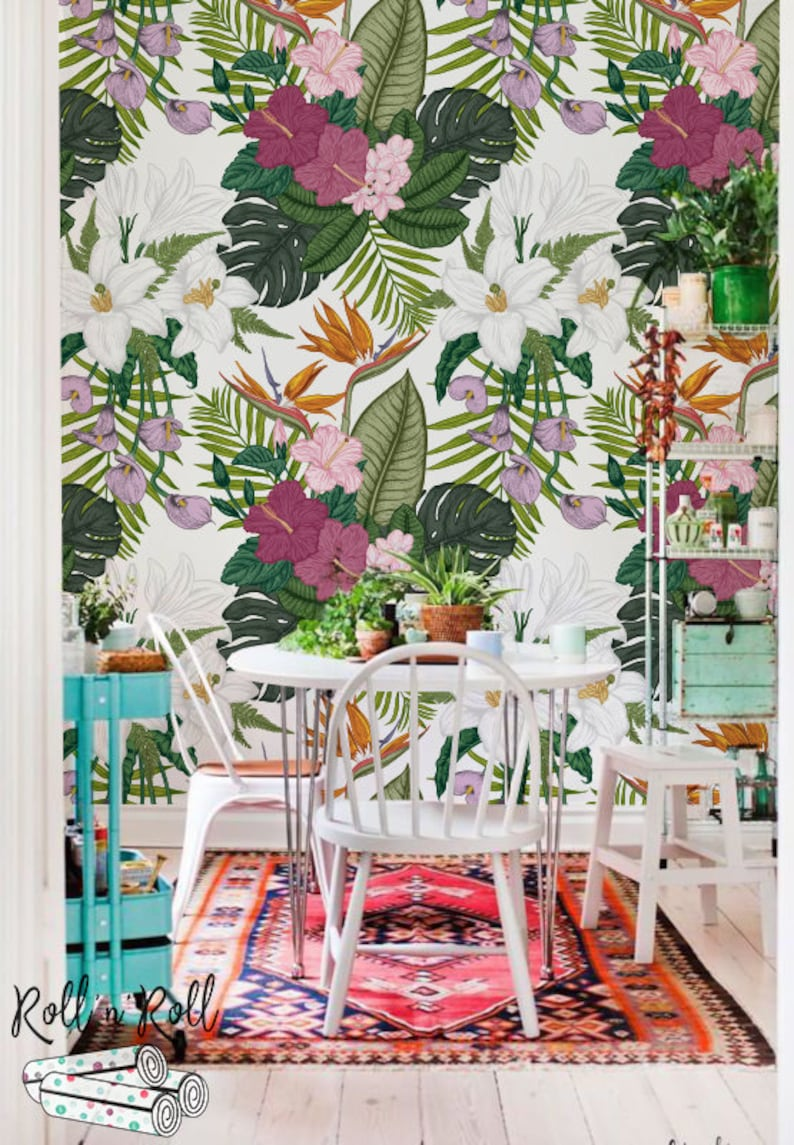 Vibrant Tropical Floral Wallpaper Removable Or Traditional Etsy