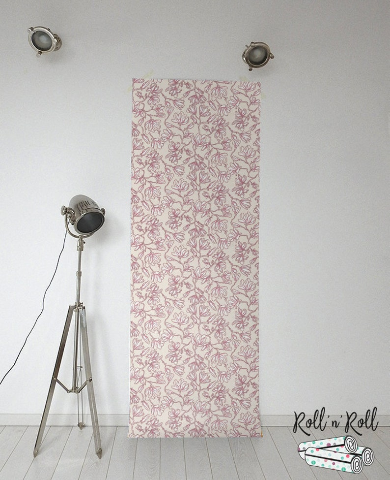 Floral pattern Magnolia tree wall mural Pink flowers wallpaper #135 Magnolia wallpaper