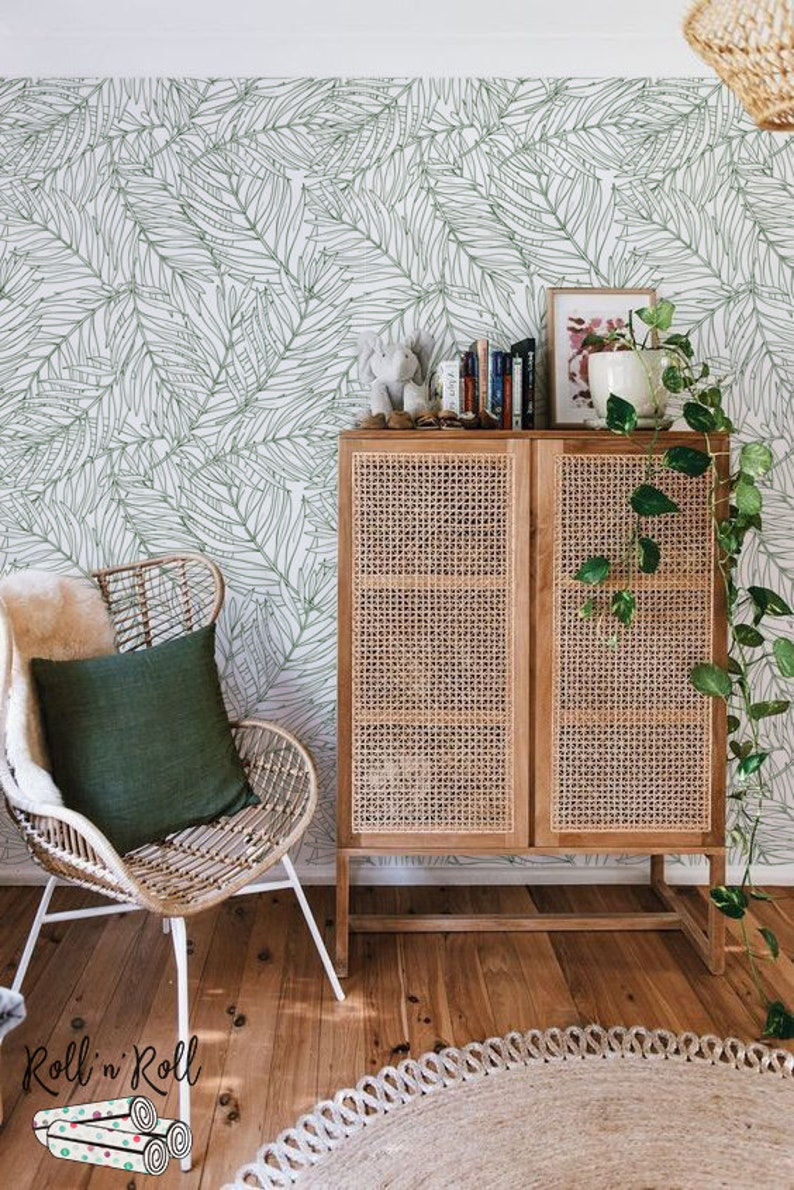 Neutral Leaf Wallpaper Drawing Leaves Floral Wallpaper Etsy