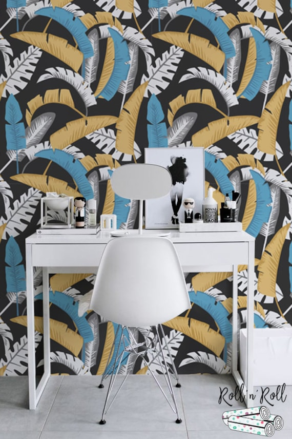 Removable Wallpaper Peel and Stick Wallpaper Wall Paper Wall Mural A527 Banana Leaf Wallpaper Tropical Wallpaper