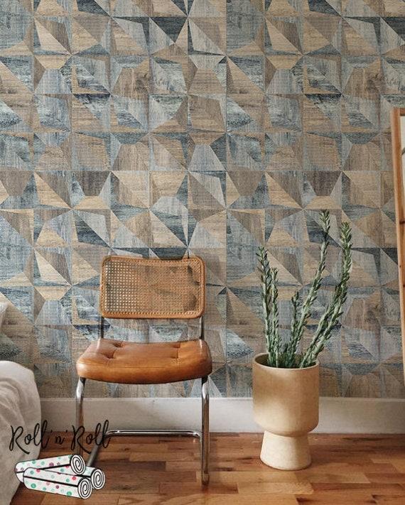 Modern Wallpaper Geometric Wall Mural Neutral Colors Wallpaper Cubes Wallpaper 127