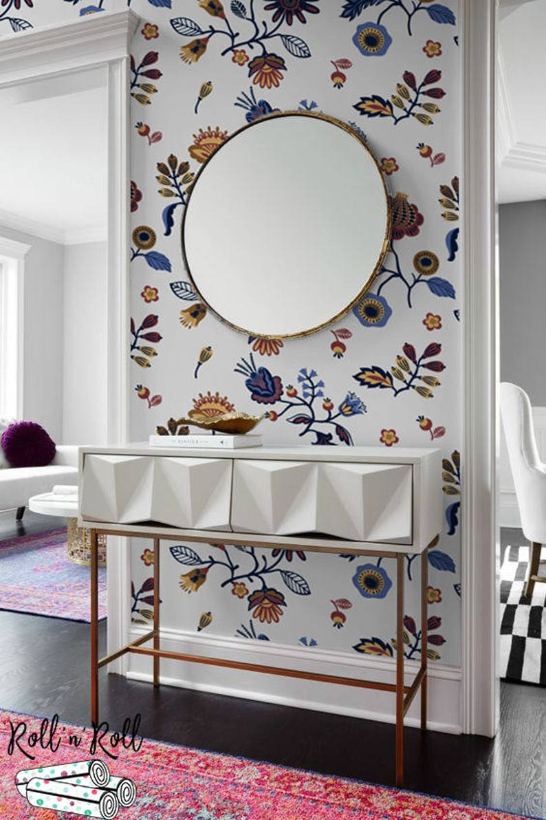 Abstract Floral Wallpaper Modern Pattern Wall Mural Etsy