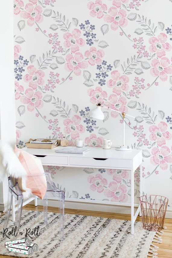 Minimalist Floral Wallpaper Geometric Drawing Wallpaper Etsy