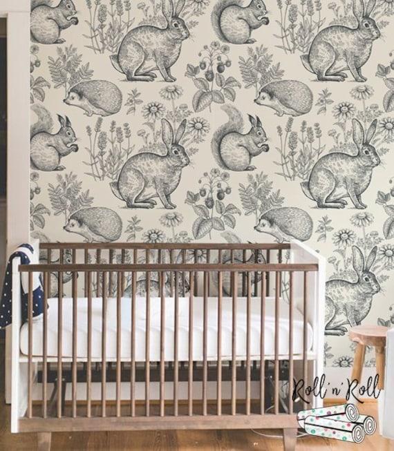 Woodland Wallpaper Animal Wallpaper Forest Animals Wall Mural Vintage Nursery Wallpaper Rabbit Squirell Hedgehog 148