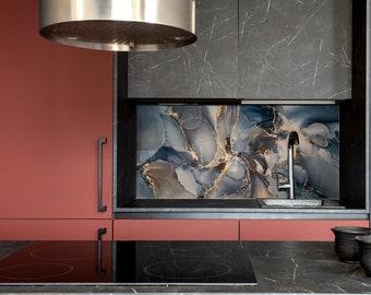Fluid Art Kitchen Wall Decor, Modern Kitchen, DIY backsplash, Tempered Glass backsplash,