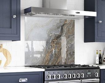 Glass Marble, Solid Glass Backsplash, Kitchen Decor, Behind the Range, Kitchen Decor, Marble Panel, Painted Backsplash,