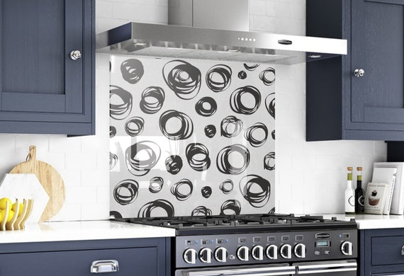 Kitchen Tempered Glass Splashback Protection Blue Abstract Pattern White