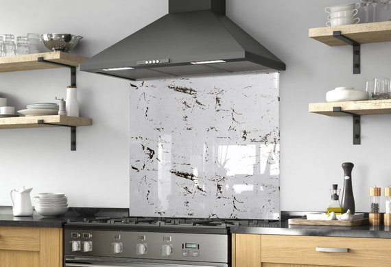 Kitchen Wall Decor, DIY Splashback, Kitchen Decor, Behind Range Decor,  Solid Glass Backsplash, Black And White Art, Abstract Decor,