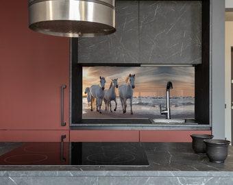 White horses, Kitchen Wall Decor, Modern Kitchen, Custom Made, DIY backsplash, Tempered Glass backsplash,