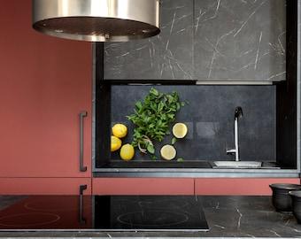 Lemon, Kitchen Wall Decor, Modern Kitchen, Backsplash Mural, Backsplash Tiles, Custom Made, DIY backsplash, Tempered Glass backsplash,