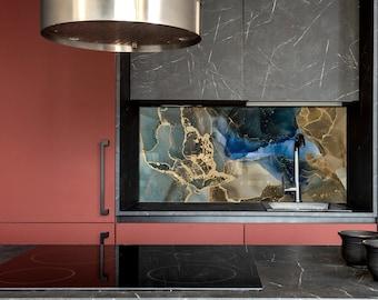 Fluid Art Kitchen Wall Decor, Modern Kitchen, Tempered Glass backsplash,