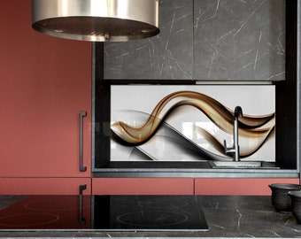 Wave, Kitchen Wall Decor, Modern Kitchen, Custom Made, DIY backsplash, Tempered Glass backsplash,