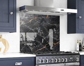 Marble Backsplash, Solid Glass Backsplash, behind the range, kitchen stove backsplash, kitchen decor, marble panel, painted backsplash,