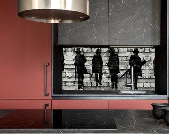 Silhouette, Kitchen Wall Decor, Modern Kitchen, Custom Made, DIY backsplash, Tempered Glass backsplash,