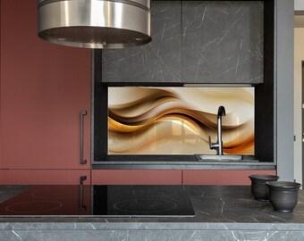 Kitchen Wall Decor, Modern Kitchen, Backsplash Line, Solid Glass, Custom Made, DIY backsplash, Tempered Glass,