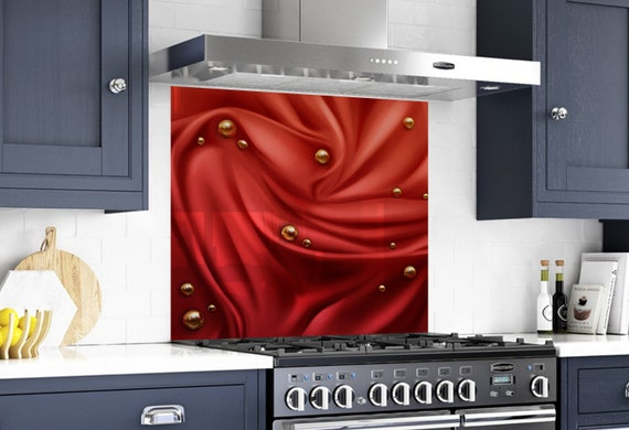 Kitchen Tempered Glass Splashback Protection woman abstract red