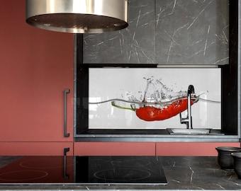 Pepper splash, Kitchen Wall Decor, Modern Kitchen, Backsplash Tiles, Custom Made, DIY backsplash, Tempered Glass backsplash,