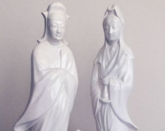 Vintage Blanc De Chine Male and Female Guanyin Figures