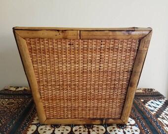 Vintage Bamboo Waste Basket