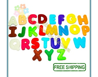 The letters of the alphabet out of felt bright for kids learning letters syllables words, gift, free shipping