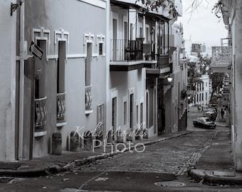 Black & White Old San Juan Fine Photo Print Spring Afternoon