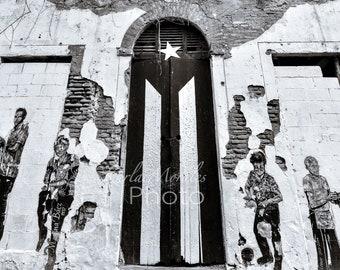 Black & White Old San Juan Photo Print Door Flag