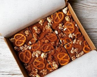 Vegan Salted Pretzel and Popcorn Brownie, Cake, Brownies, Baked Gifts