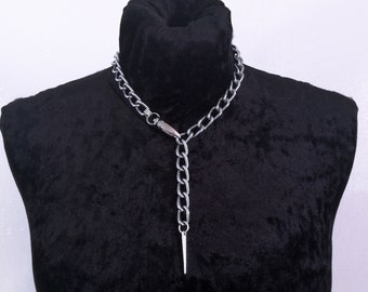 2efbe05db4369b Stainless Steel Chain Necklace - Mens and Womens Silver Spike Pendant  necklace, unisex necklace - Handmade