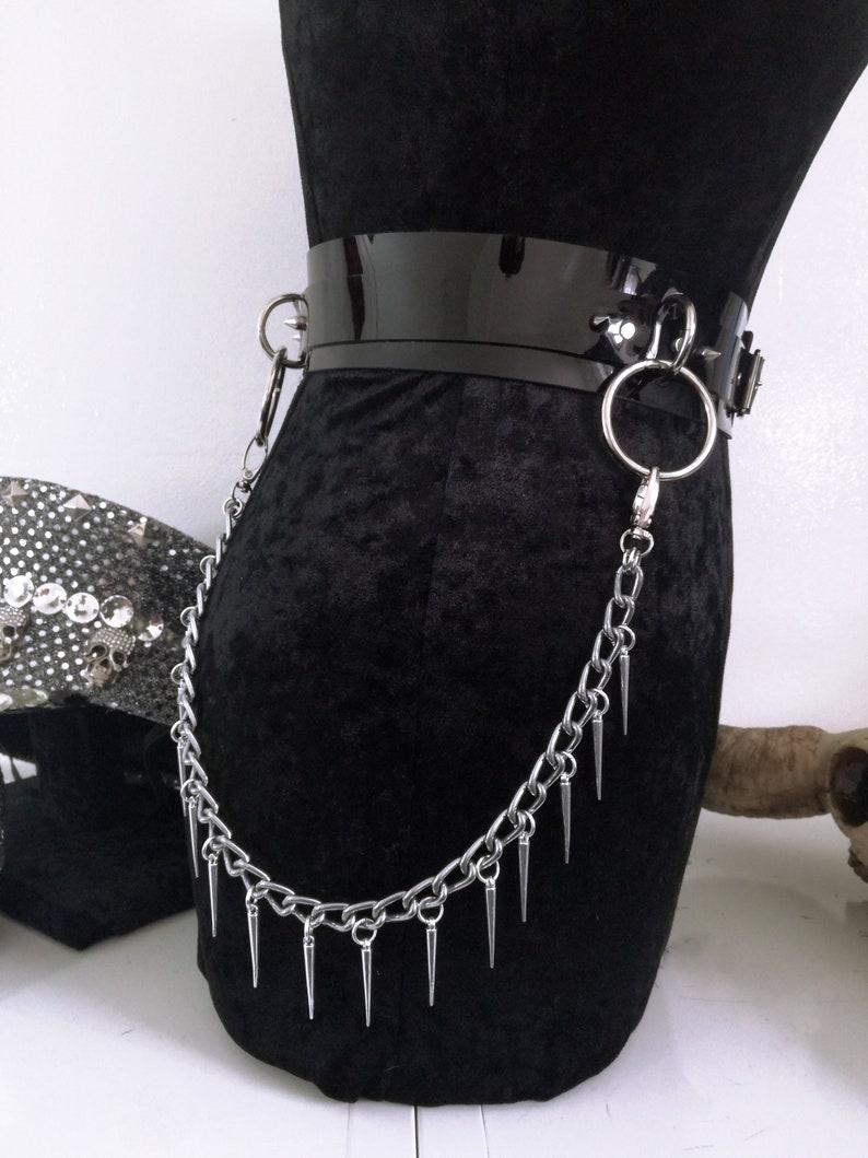 X2 unisex Belt chains Handmade Stainless Steel Silver Spike Pendant Waist Belt chains Chain Waist Belt Add-on