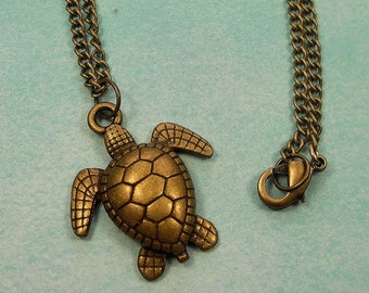 Bronze Sea Turtle Necklace, Sea Turtle Jewelry, Turtle Lover Gift, Sea Turtle Pendant, Turtle Necklace, Antique Bronze, Boho Beach Necklace