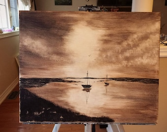 Sunset Over The Bay painting on canvas