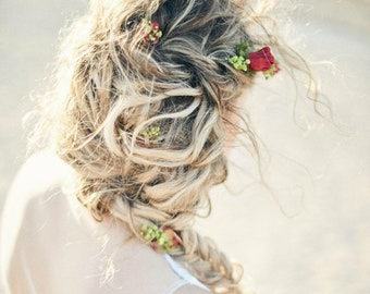 Mini clip hair in stabilized flowers