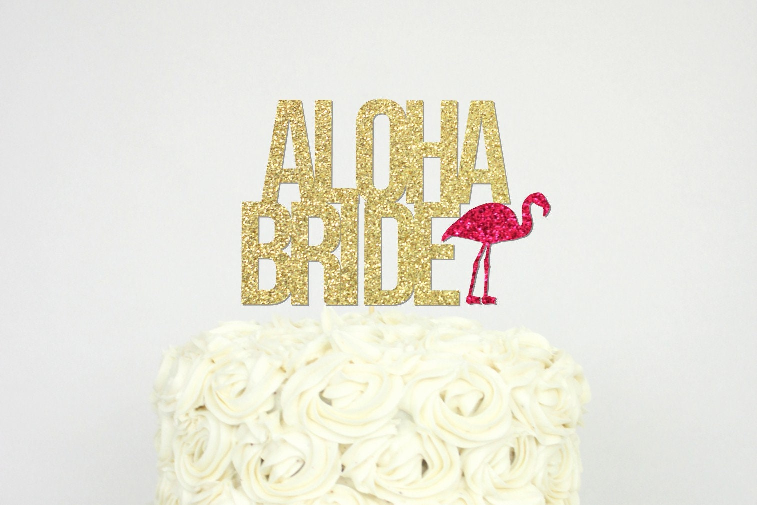 Aloha Bride Cake Topper Tropical Luau Flamingo Bridal Shower | Etsy
