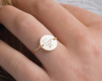 Engraved Handwriting Ring, Gold or Silver, Bereavement Gift, Personalized Ring with Handwriting, Memorial Ring, Actual Handwriting Jewelry