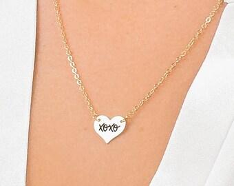 xoxo Heart Necklace, Sterling Silver xoxo Heart Necklace, Gold xoxo Heart Necklace, xoxo Heart Pendant, Gift Idea for Girlfriend