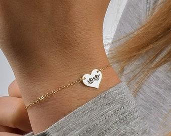 xoxo Heart Bracelet, Simple XOXO Heart Bracelet, Sterling Silver xoxo Bracelet, Gold xoxo Heart Bracelet, Hugs and Kisses Bracelet