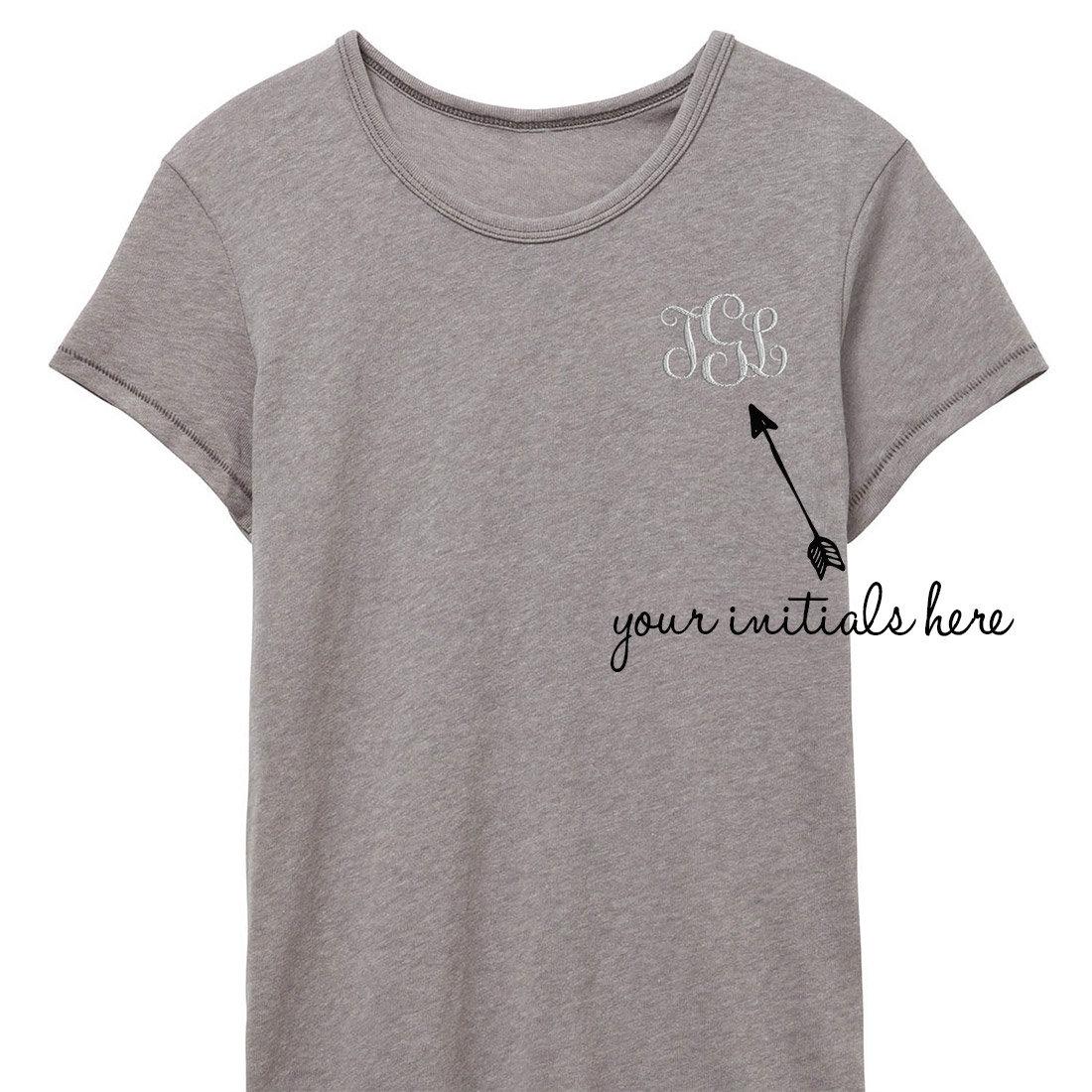 Monogram Tshirt Modern Embroidery Monogram Shirt Custom Etsy