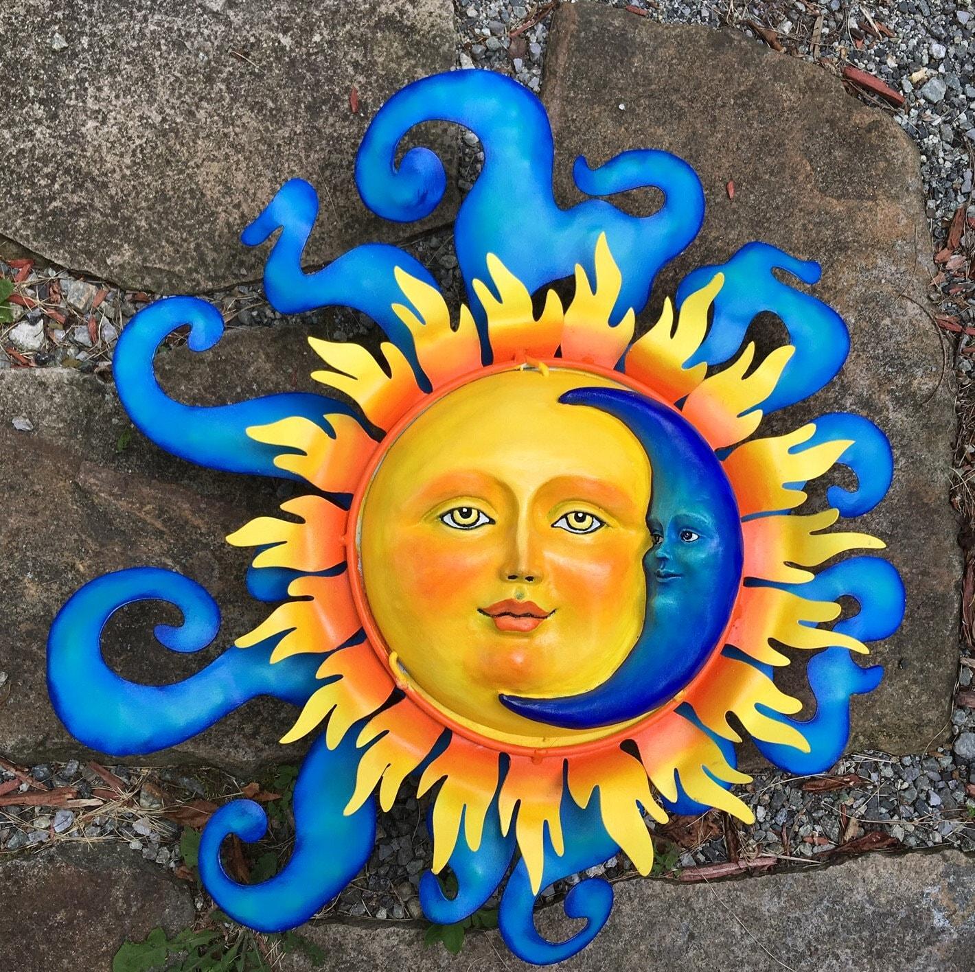 Metal Crafted Sun and Moon - Garden Sun - Celestial Wall Art ...