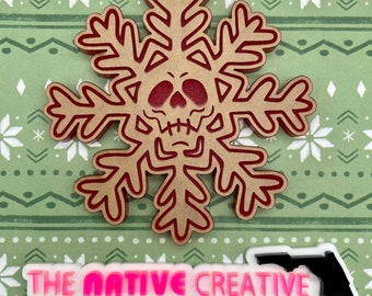 Skull Flake Snowflake Ornament / CoasterSilicone Mold for Resin Crafting *Made to order