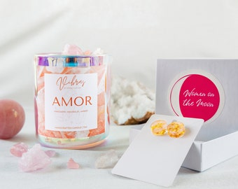 Amor Crysta Candle, 11oz candle, Scented Soy Candles, Crystal Candle,  Vibras Candle, Coconut Soy Candle, Latina Candle, Simply Latina Vela