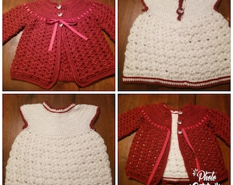 Girl's Crochet Dress and Sweater