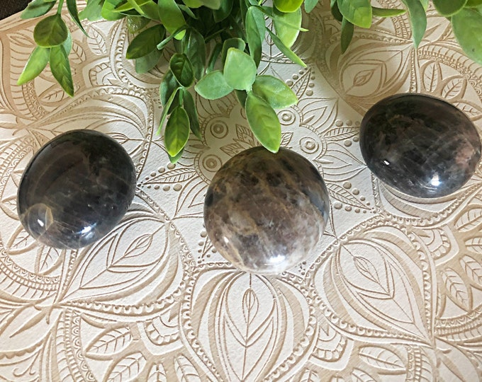Featured listing image: Black Moonstone Palm Stone *Intuition. New Beginnings. Introspection*