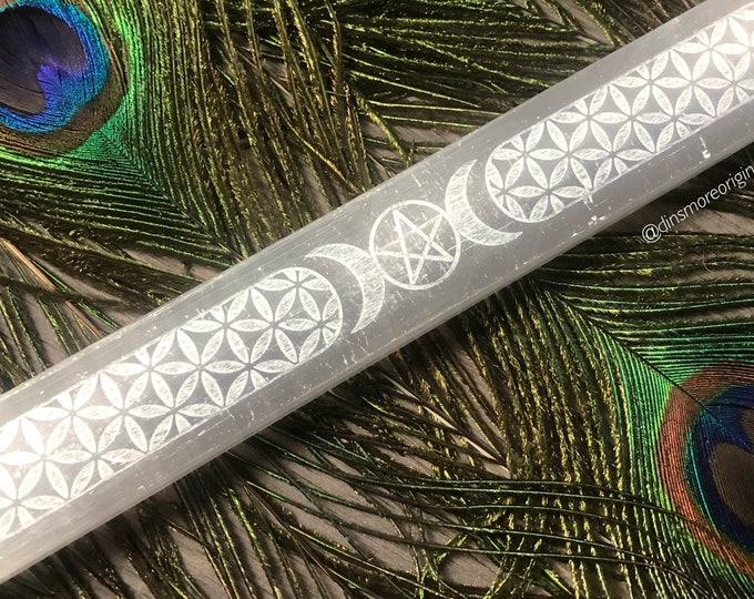 Featured listing image: Goddess Selenite Wand         *Charging Plate. Seed of Life. Pentacle*