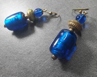 Earrings blue & gold murano glass