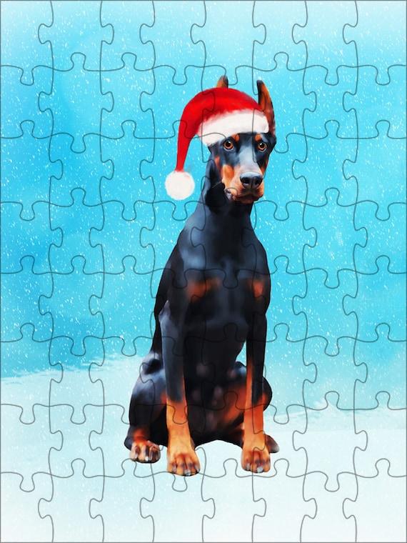 Doberman chien Noël Jigsaw Puzzle avec la Photo d'étain, chien photo puzzle, cadeaux de Noël, chien amoureux Noël idées de cadeaux, cadeaux d'amoureux de chien