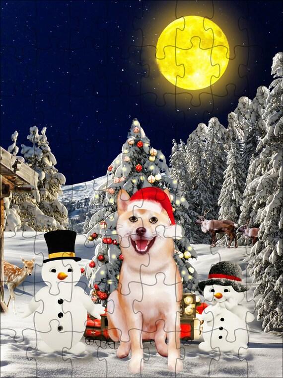 Shiba Inu chien Noël Puzzle avec Photo d'étain, puzzle photo chien, les puzzle famille chien, les animaux photo puzzle, Puzzle de Noël