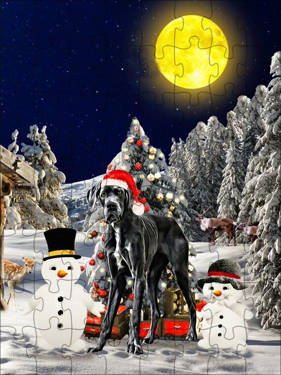 Great Dane chien Noël Jigsaw Puzzle avec la Photo d'étain, puzzle photo chien, les puzzle famille chien, les animaux photo puzzle, Puzzle de Noël