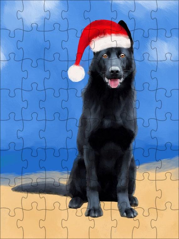 Berger allemand chien Noël Jigsaw Puzzle avec la Photo d'étain