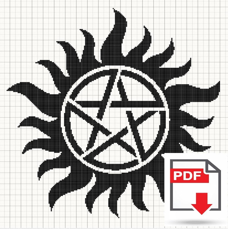 Supernatural Anti-Possession Sigil Cross Stitch Pattern PDF Download -  Geeky Nerdy Cross Stitch - Winchester Tattoo Symbol