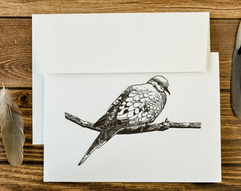 Dove Greeting Card | Blank Card | Bird Art | Feather Art | Eco Friendly Card | Thank You Card | Birthday Card | Stationary Card | Stationery